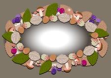Le cadre ovale de la forêt d'automne porte des fruits et des écrous Photographie stock
