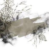 Le cadre peint à la main avec des ananas, des feuilles et l'aquarelle éclabousse Illustration tropicale abstraite aux nuances bei illustration libre de droits