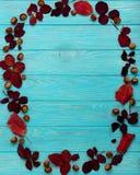 Le cadre plat de configuration du cramoisi d'automne part et des noix sur un en bois Photos libres de droits