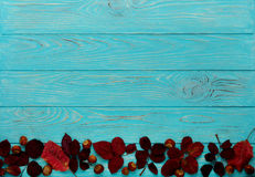 Le cadre plat de configuration du cramoisi d'automne part et des noix sur un en bois Photographie stock libre de droits