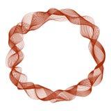 Le cadre rond abstrait avec le mouvement ondule, les lignes rouges de courbe Images stock