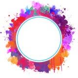 Le cadre rond avec la peinture abstraite éclabousse illustration libre de droits