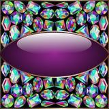 Le cadre rond de fond a fait le ‹d'†de ‹d'†des pierres précieuses Image stock