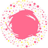 Le cadre rond de point de polka avec le grunge a souillé, fond rose pour votre texte Vecteur Photo stock