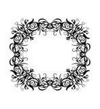 Le cadre rond de rectangle de noir de cru de silhouette de vecteur avec rétro s'épanouissent l'ornement baroque illustration de vecteur