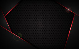 Le cadre rouge abstrait avec le modèle de trou en acier de texture folâtre le fond moderne de concept de construction de calibre  Images libres de droits