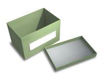 Le cadre vert sur un fond blanc avec un signe Photographie stock