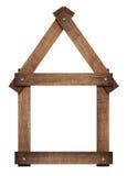 Le cadre vissé par icône en bois de maison de maison solated dessus Images stock