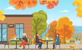 Le café avec des Tableaux et des personnes, clients dirigent illustration libre de droits