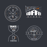 Le café cite le style d'insigne de lettrage Images libres de droits