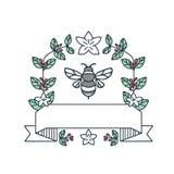 Le café de bourdon laisse à des cerises la fleur ligne mono illustration stock