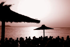 Le café Del Mar, Ibiza de coucher du soleil @ photographie stock libre de droits