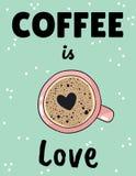 Le café est affiche d'amour avec la tasse de café avec la forme de mousse de coeur r illustration stock