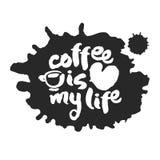Le café est ma calligraphie et tache de la vie Image libre de droits