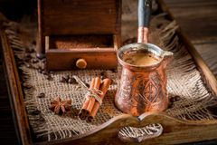 Le café fraîchement rôti avec le pot a bouilli le café et des haricots Image libre de droits