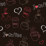 Le café gribouille le modèle sans couture Image stock
