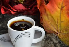 Le café noir chaud a complété la petite tasse de petit morceau images stock