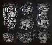 Le café signe la craie illustration de vecteur