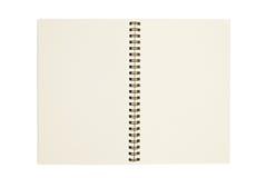 Le cahier blanc ouvrent la page deux d'isolement Photo stock