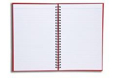 Le cahier rouge ouvrent la page deux Photos libres de droits