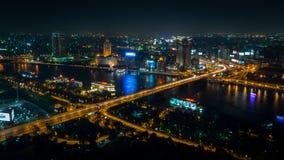 LE CAIRE - 4 JUILLET : Vue à partir de dessus de tour du Caire la nuit juillet 4, 2016 au Caire, l'Egypte Photographie stock