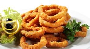 le calamari a fait frire des fruits de mer Image stock