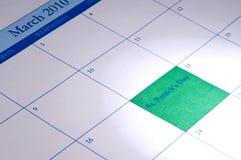 Le calendrier avec le 17 mars a mis en valeur Images stock