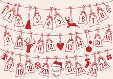 Le calendrier d'avènement avec Noël met en sac, ensemble de vecteur Photo stock