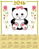 Le calendrier d'illustration pour 2016 dans les enfants conçoivent avec le chat mignon de jouet Photos libres de droits