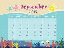 Le calendrier d'océan de septembre 2019 illustration libre de droits