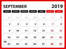 Le calendrier de bureau pour le calibre de septembre 2019, calendrier imprimable, calibre de conception de planificateur, semaine illustration stock