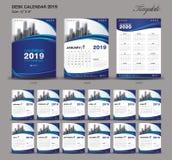 Le calendrier de bureau taille de 2019 ans calibre de 6 x 8 pouces, le calibre 2019, ensemble de 12 mois, semaine bleu de calendr illustration stock