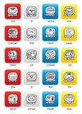 Le calendrier de Maya scelle des boutons de vecteur de Tzolkin Images stock