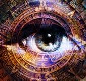 Le calendrier et la femme maya antiques observent, fond abstrait de couleur, collage d'ordinateur Oeil dans la lumière de cercle Photographie stock