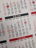 Le calendrier et le x28 ; May& x29 ; image libre de droits