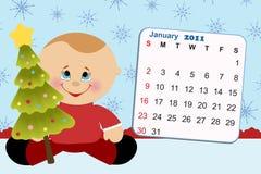 Le calendrier mensuel de la chéri pour 2011 Image stock