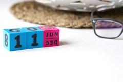 Le calendrier perpétuel a placé à la date du 11 juin Photographie stock libre de droits