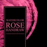 Le calibre abstrait avec le rose d'éléments d'aquarelle a monté pour des designs d'entreprise illustration stock