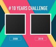 Le calibre avec le hashtag 10 ans contestent le concept Mode de vie avant et après dix ans Illustration de vecteur illustration de vecteur