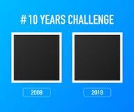 Le calibre avec le hashtag 10 ans contestent le concept Mode de vie avant et après dix ans Illustration de vecteur illustration libre de droits