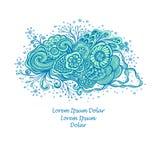 Le calibre avec la belle marine abstraite fleurit le bouquet dans cyan bleu sur le blanc illustration de vecteur