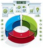 Le calibre créatif d'infographics, trois sectored l'idée du cercle 3d, v Photographie stock