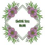 Le calibre d'illustration de vecteur vous remercient maman du cadre pourpre de fleur de beauté illustration de vecteur