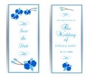 Le calibre d'invitation d'événement de mariage de mariage a placé avec l'orchidée bleue illustration de vecteur