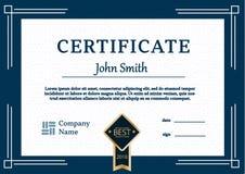 Le calibre de certificat attribue le vecteur A4 de fond de diplôme Images stock