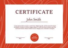 Le calibre de certificat attribue le vecteur A4 de fond de diplôme Photographie stock libre de droits