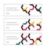 Le calibre de conception de bannière de Web a placé se composer des modèles abstraits de fond faits avec des formes de chevron/fl illustration stock