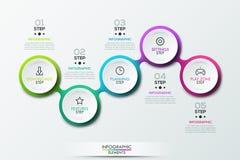 Le calibre de conception d'Infographic avec 5 a relié les éléments circulaires Photographie stock libre de droits