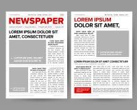 Le calibre de conception de journal de quotidien avec la deux-page ouvrant les titres editable cite des articles des textes et de illustration stock