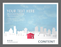 Le calibre de conception de présentation, les bâtiments de ville et le concept d'immobiliers, dirigent le fond moderne Illustration Stock